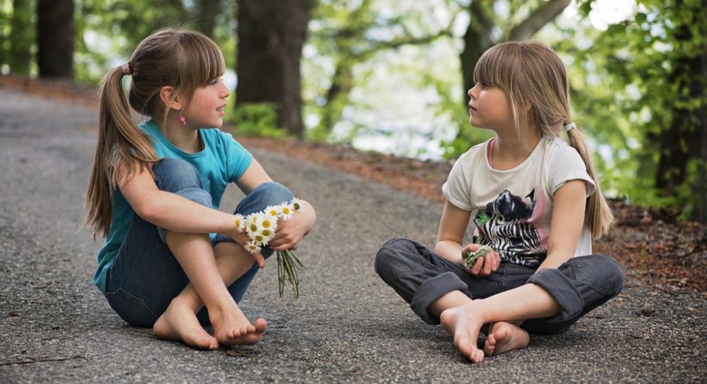 little girls sitting